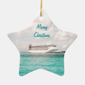 En el ornamento del navidad del puerto adorno navideño de cerámica en forma de estrella