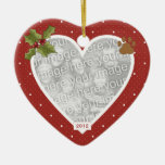 En el ornamento rojo del gato del corazón de la me adorno