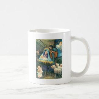 En el pesebre taza de café