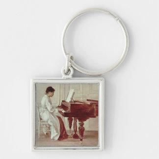En el piano, 1887 (aceite en lona) llavero personalizado