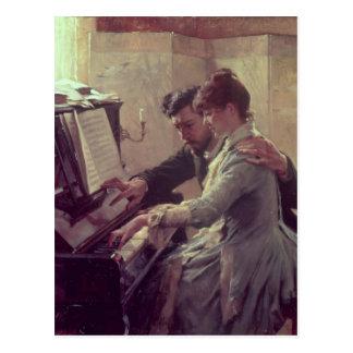 En el piano tarjeta postal