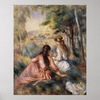En el ~ Pierre-Auguste Renoir del prado Póster