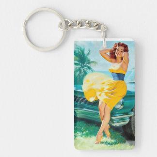 En el Pin amarillo del vestido para arriba Llavero Rectangular Acrílico A Doble Cara