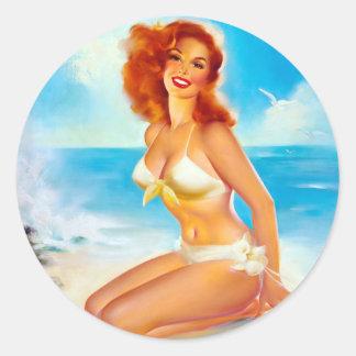 En el Pin de la playa para arriba Pegatina Redonda