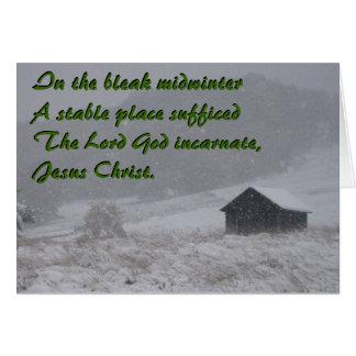 En el pleno invierno triste, un establo tarjeta de felicitación