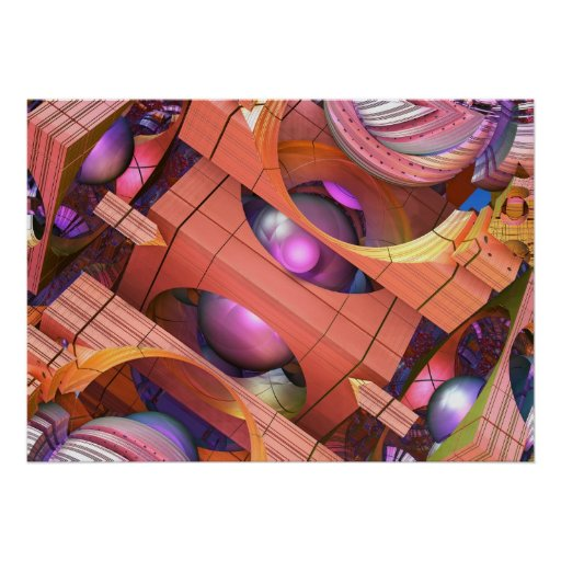 En el poster tridimensional mágico, abstracto