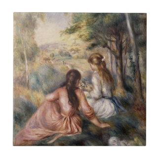 En el prado de Pedro Auguste Renoir Azulejo Cuadrado Pequeño