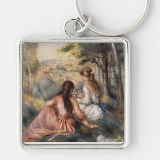 En el prado de Pedro Auguste Renoir Llavero Cuadrado Plateado