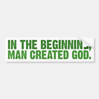En el principio el hombre creó a dios pegatina de parachoque