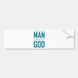 En el principio el hombre creó a dios etiqueta de parachoque