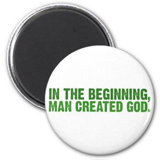En el principio, el hombre creó a dios imán redondo 5 cm