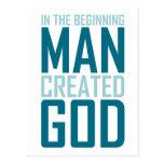 En el principio el hombre creó a dios postal
