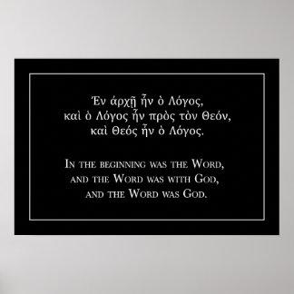 En el principio era la palabra (griego e inglés) póster