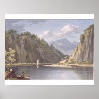 En el río Elba, cerca de Lowositz en Sajonia, plac Póster