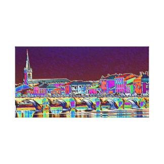 En el río Saone Lyon Francia en color vivo Lona Estirada Galerias