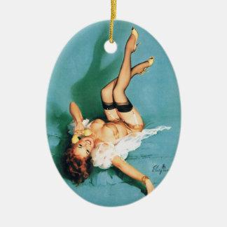 En el teléfono - Pin del vintage encima del chica Ornamento De Navidad