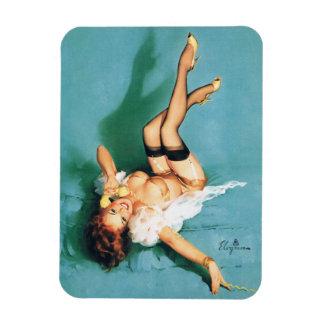 En el teléfono - Pin del vintage encima del chica Imán Foto Rectangular