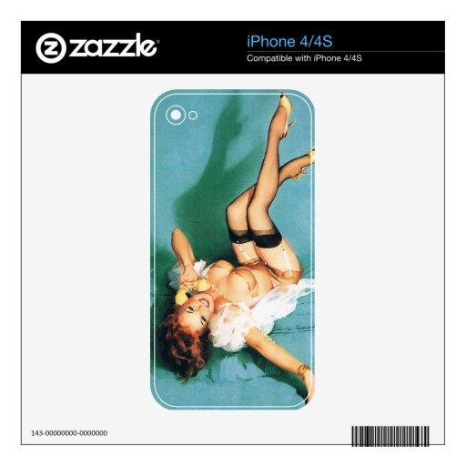 En el teléfono - Pin del vintage encima del chica Skin Para El iPhone 4