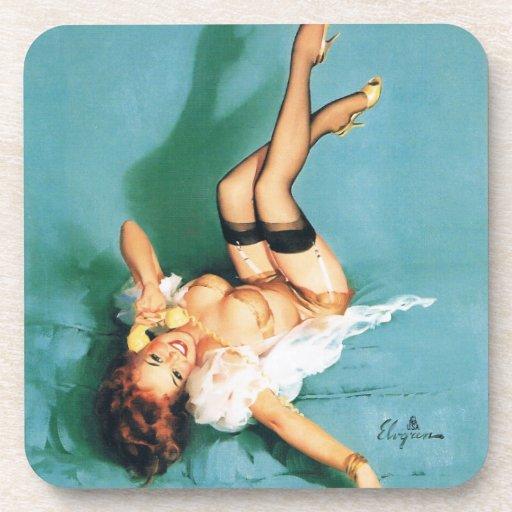 En el teléfono - Pin del vintage encima del chica Posavasos De Bebida