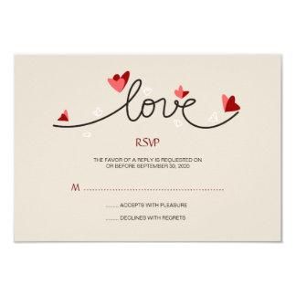 """En el texto elegante simple del amor que casa RSVP Invitación 3.5"""" X 5"""""""
