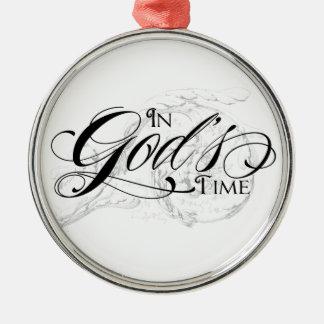 En el tiempo de dios adorno navideño redondo de metal