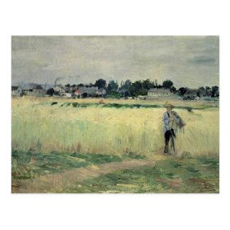 En el Wheatfield en Gennevilliers, 1875 Postal