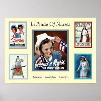 En elogio a enfermera del vintage del ~ de las enf póster