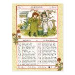 En enero de 1884 almanaque.  Acuario, el portador  Tarjetas Postales