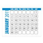 En enero de 2011 postal del calendario