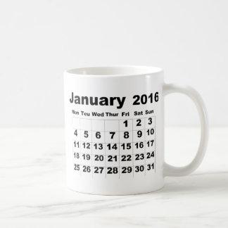 En enero de 2016 calendario taza de café
