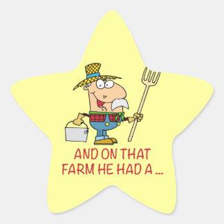 EN ESA GRANJA ÉL TENÍA el viejo granjero del Calcomanía Forma De Estrella