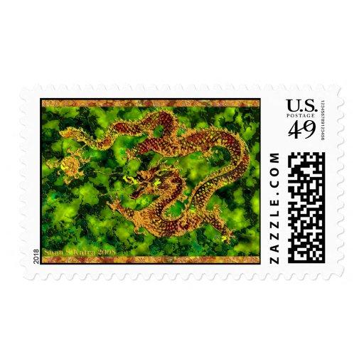 En esmeralda flamea franqueo timbres postales