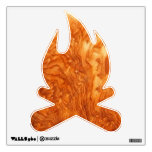 En etiqueta anaranjada de la pared del fuego