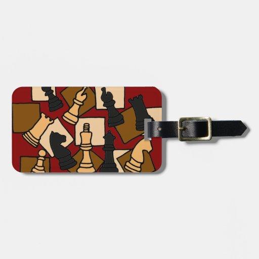 EN etiqueta del equipaje del pedazo de ajedrez Etiquetas Para Maletas
