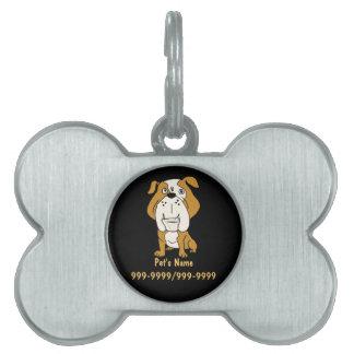 EN etiqueta o llavero del mascota del dogo Placas Mascota