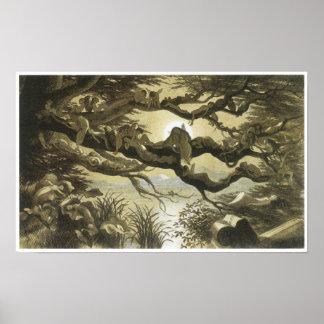 En Fairyland: Dormido en el claro de luna, 1870 Impresiones