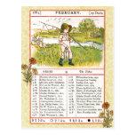 En febrero de 1884 almanaque.  Piscis, los pescado Tarjeta Postal