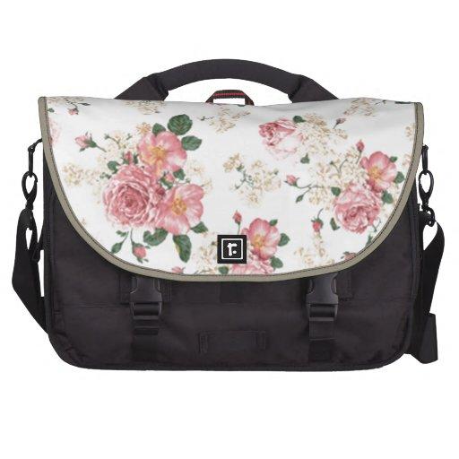 En floral blanco y rosado de la floración bolsa de ordenador