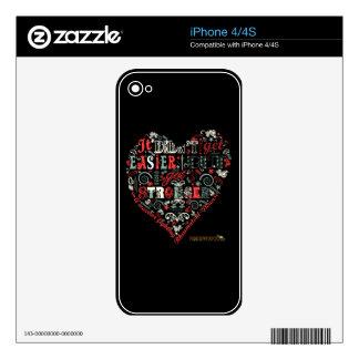 En forma de corazón conseguí más fuerte iPhone 4S calcomanías