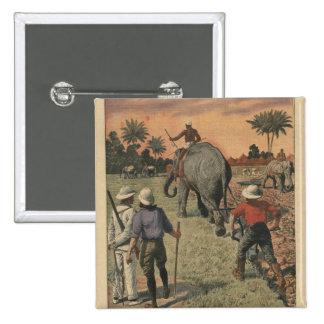 En francés Congo, el elefante entrenó al arado Pin Cuadrada 5 Cm