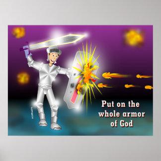 En general armadura puesta de dios póster
