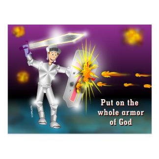 En general armadura puesta de dios postales