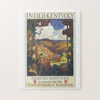 En ilustraciones viejas del poster del viaje del puzzle