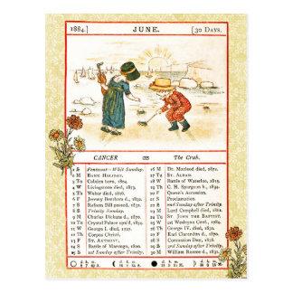 En junio de 1884 almanaque.  Cáncer, el cangrejo Postales