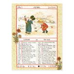 En junio de 1884 almanaque.  Cáncer, el cangrejo Tarjeta Postal