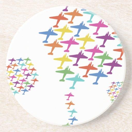 En la aviación del vuelo del globo del aeroplano d posavasos de arenisca