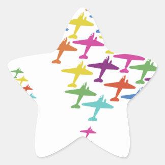 En la aviación del vuelo del globo del aeroplano pegatina en forma de estrella