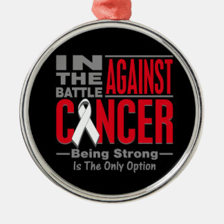 En la batalla contra cáncer de hueso adorno redondo plateado