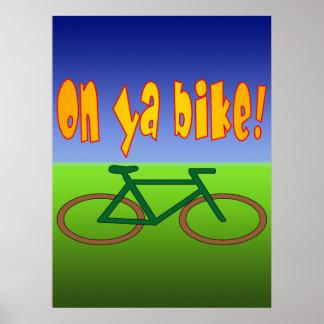 ¡En la bici de Ya El ciclo va las emisiones cero Poster