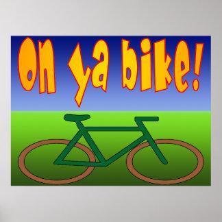 ¡En la bici de Ya El ciclo va las emisiones cero Posters